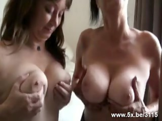 two matures team-fucked by petite in number rods