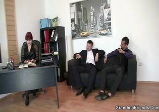 office lady pleases two jocks