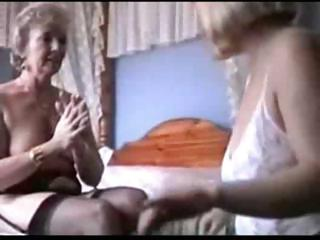 two grannies play in lingerie and nylons