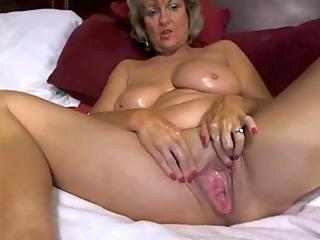 amazing large tited mama masturbates