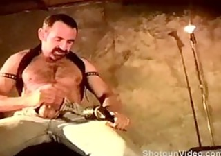 self cbt session by unshaved muscular man.