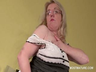 slit masturbation with lustful blonde aged in