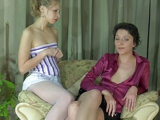 youthful blonde and mature brunette in stockings