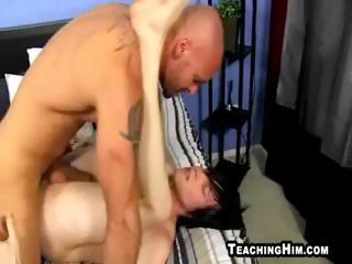 built mature fellow fucking a twinks taut booty