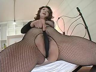japanese milf in dark fishnets masturbation