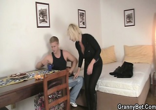 old golden-haired rides her neighbor big cock
