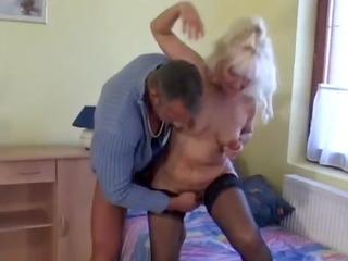 hawt blonde euro granny assbanged in nylons