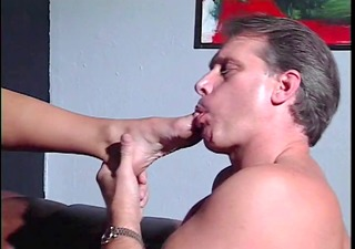 brunette foot fucks older stud&s ramrod