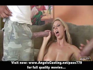 sexy non-professional blond does oral-service and