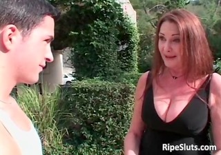 sexy lascivious large boobed redhead mother i
