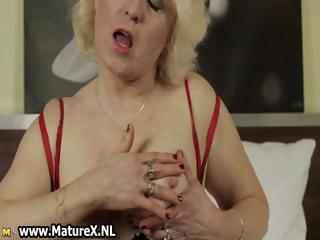 mature blond housewife stripping part7
