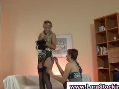 british lesbian flashes her stockings and muff